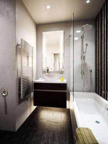 Petite salle de bain moderne avec un meuble vasque sur lev for Petit salle de bain moderne
