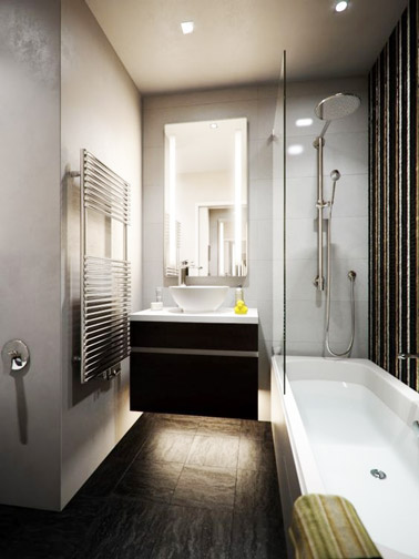 Petite salle de bain moderne avec un meuble vasque sur lev for Salle de bain moderne 2016