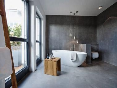 du bton cir dans une salle de bain la dco zen - Salle De Bains Beton Cire