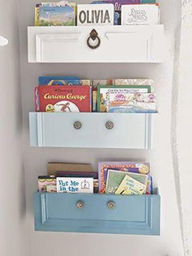 Voilà une bonne idée pour ranger les livres dans la salle de jeux ! Des petits compartiments réalisés avec des tiroirs détournés accueillent les livres sur le mur