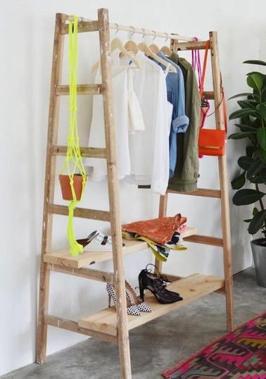 DIY Déco Pour Faire Un Portant En Bois Avec Des échelles - Portant en bois