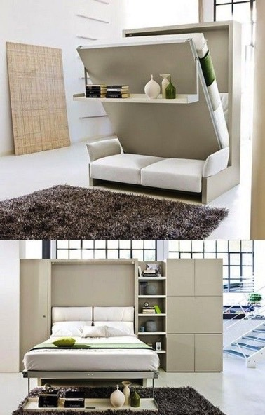 un lit modulable en armoire et canap en d co salon. Black Bedroom Furniture Sets. Home Design Ideas