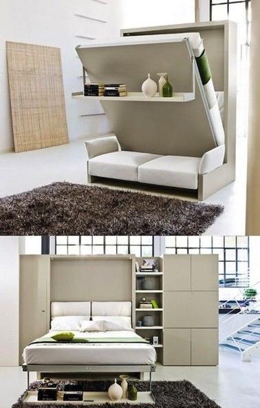 Quand vous hébergez vos amis, voici un canapé modulable qui fera votre bonheur ! Transformable en armoire et canapé le reste du temps, il trouvera parfaitement sa place dans le salon