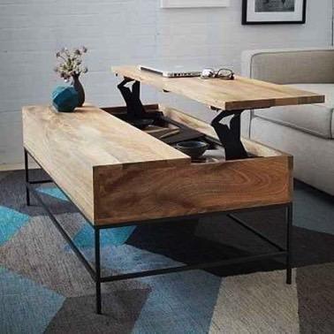 Comme par magie, cette élégance table basse en bois se transforme en bureau portatif, idéal pour travailler et offre un espace de rangement hyper pratique !
