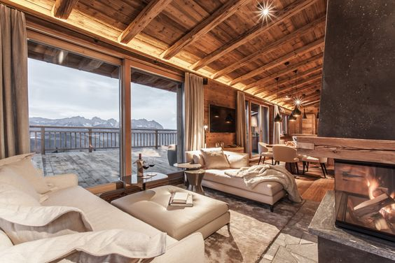 Chalet madriers doubl for Interieur chalet moderne
