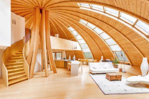 Maison en bois domespace, dans une forêt aux Etats-Unis