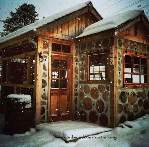 Maison en bois cordé, aux Etats-Unis