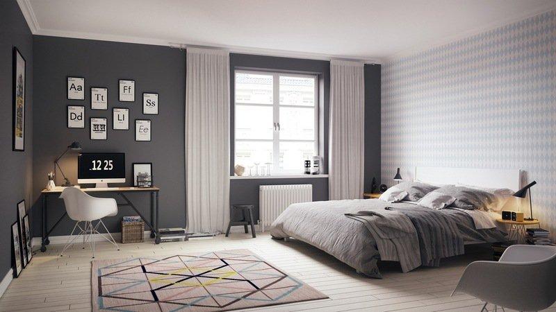 chambre-scandinave-grise-blanche-moderne-tapis-motifs-géométriques |