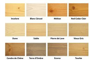 Nuancier de teintes bois lasurés