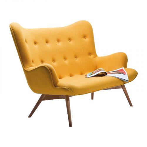 Canapé vintage en tissu jaune 2 places