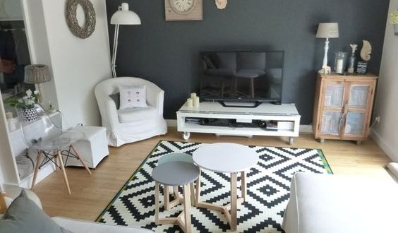 un mur couleur charbon dans un salon style scandinave