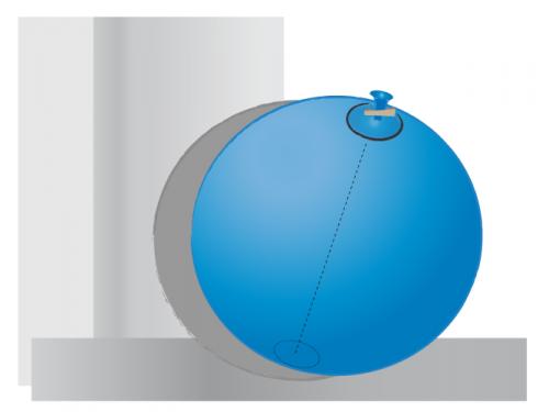 Ballon gonflé fermé par une pince à linge