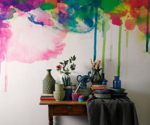 mur peint à l'acquarelle