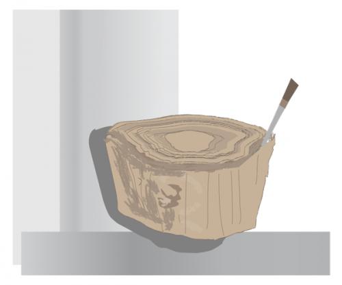 Retirer l'écorce du tronc d'arbre