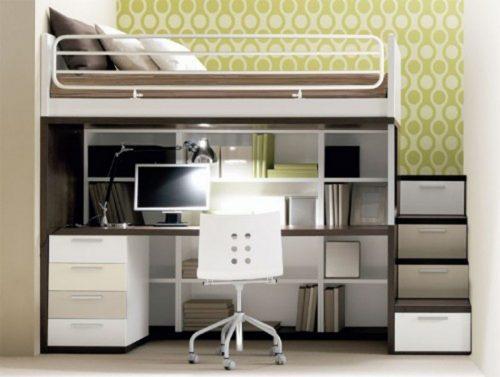 bureau d'ado fonctionnel avec lit en hauteur