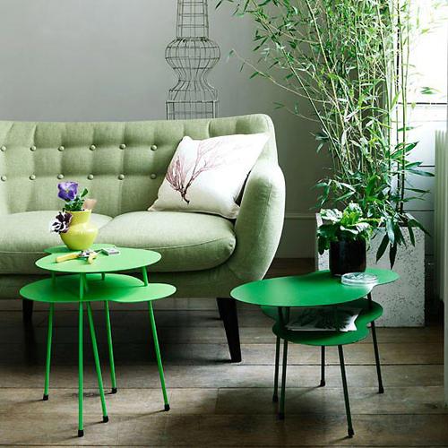 meubles repeints en vert