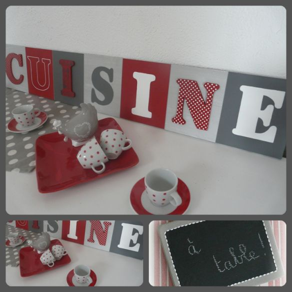 Awesome Lettres Dcoratives En Cuisine With Decoration Cuisine Rouge Gris  With Deco Cuisine Rouge